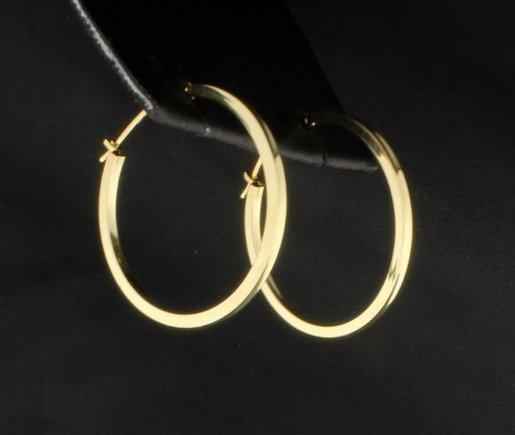 14K Yellow Gold Hoop Earrings - 2