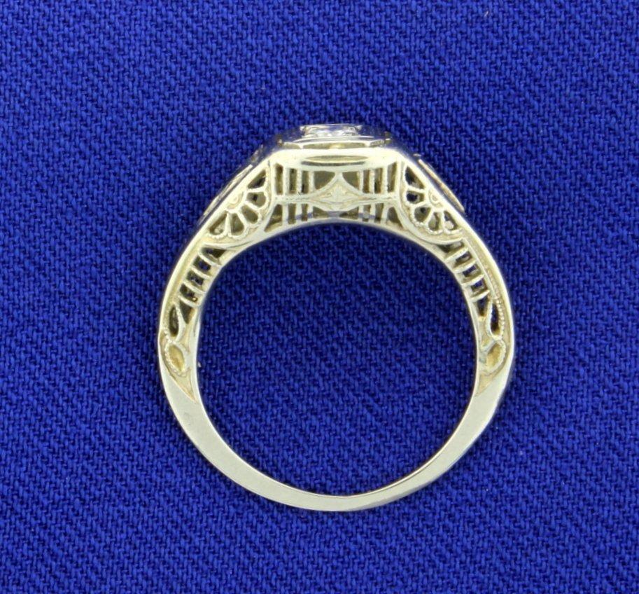 18K Vintage Filigree Diamond and Sapphire Ring - 2