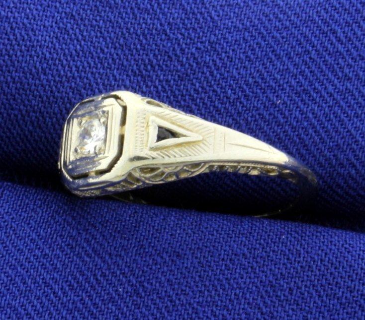 18K Vintage Filigree Diamond and Sapphire Ring - 3