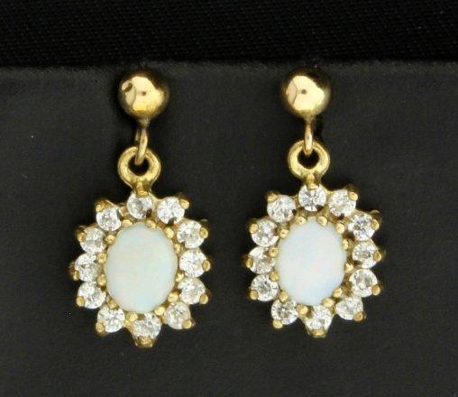 Opal and White Sapphire Dangle Earrings
