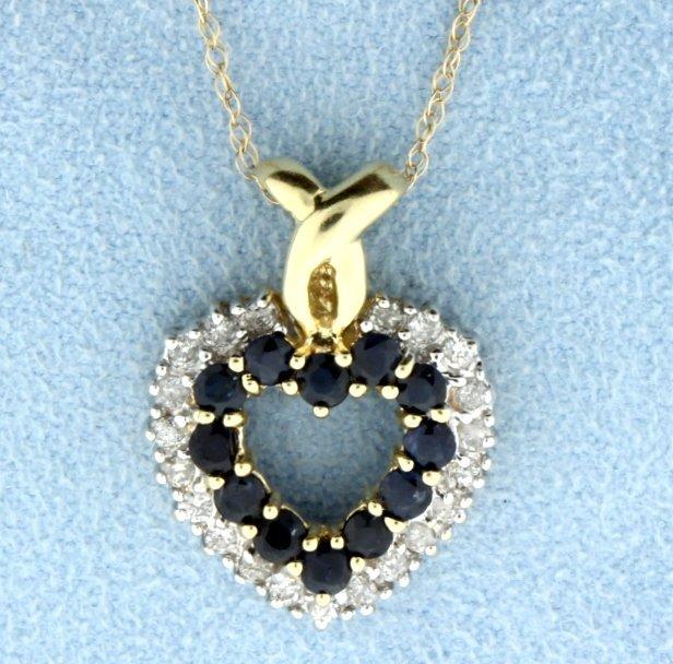 Diamond and Sapphire 14k Heart Pendant.