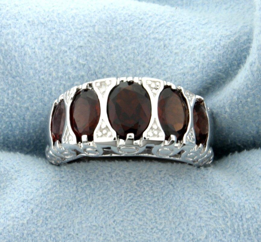Genuine Garnet Statement Ring in Rhodium over Sterling