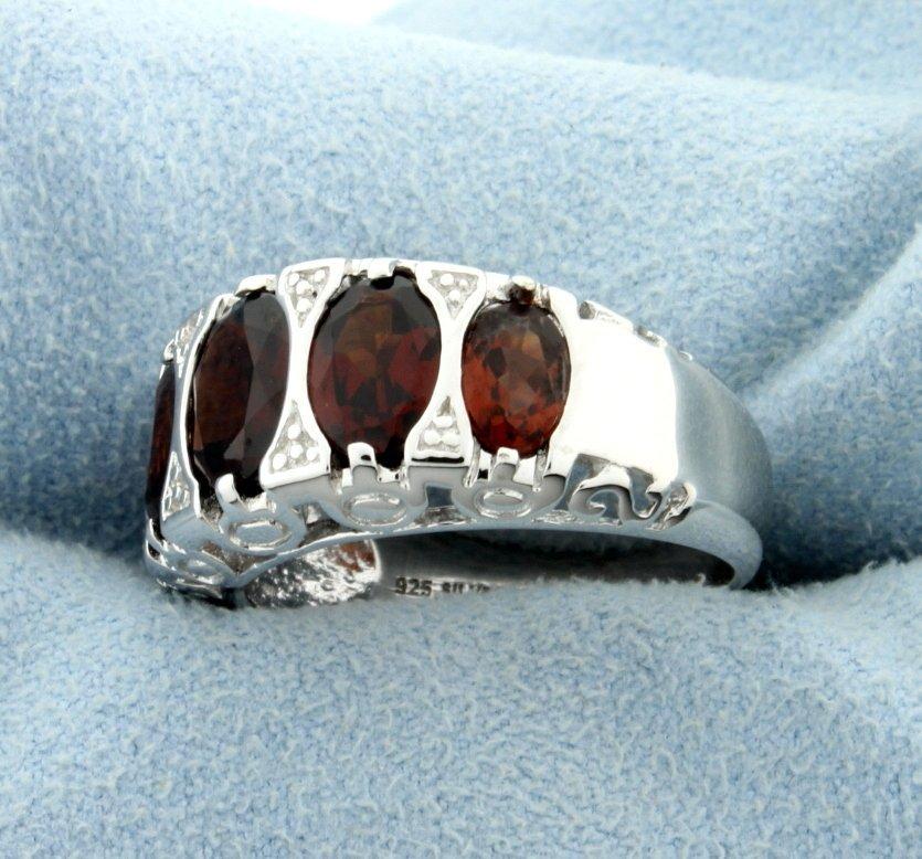 Genuine Garnet Statement Ring in Rhodium over Sterling - 2