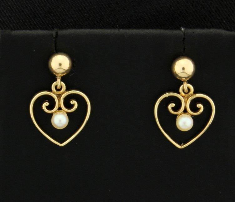 Seed Pearl Dangle Heart Earrings