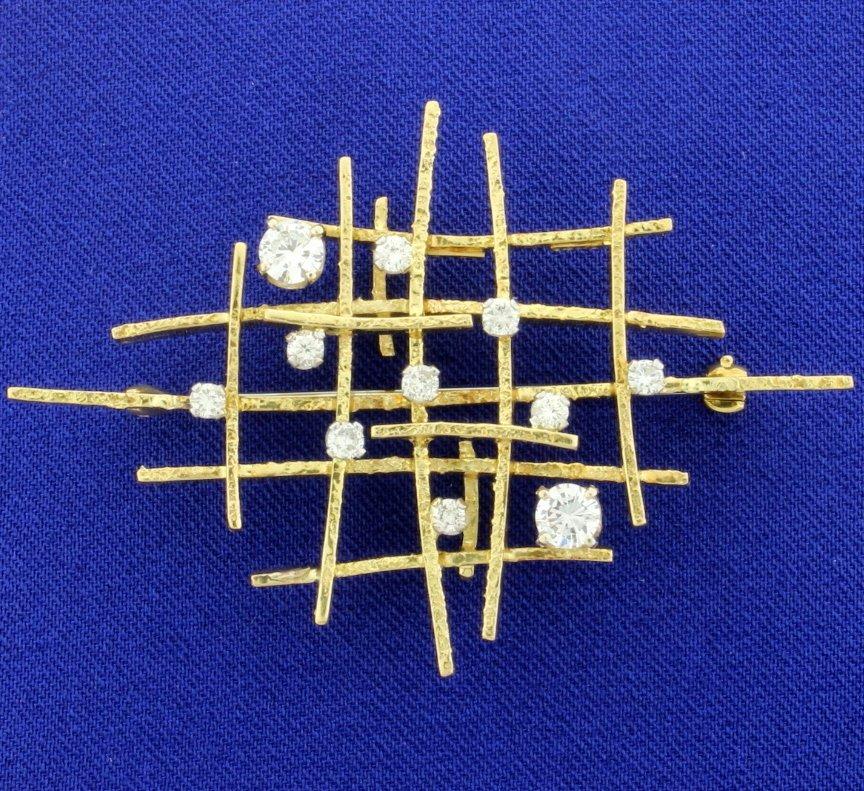 Vintage 18K 1.25ct Total Weight Diamond Pin