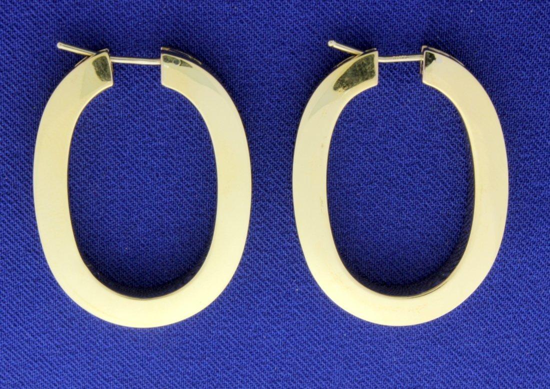 Large 14k Elongated Hoop Earrings