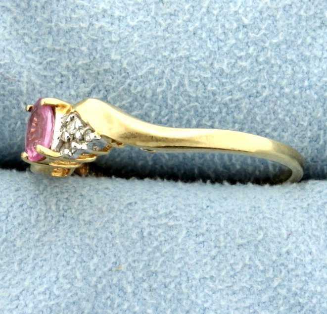 Pink Topaz & Diamond Ring - 2