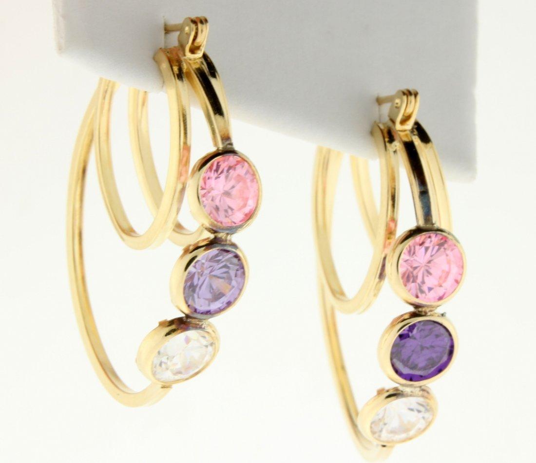 Large 3 stone hoop earrings