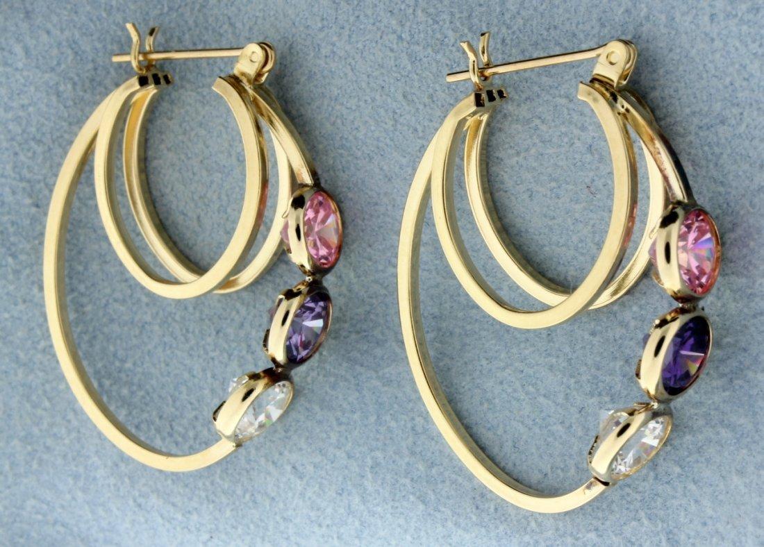 Large 3 stone hoop earrings - 2