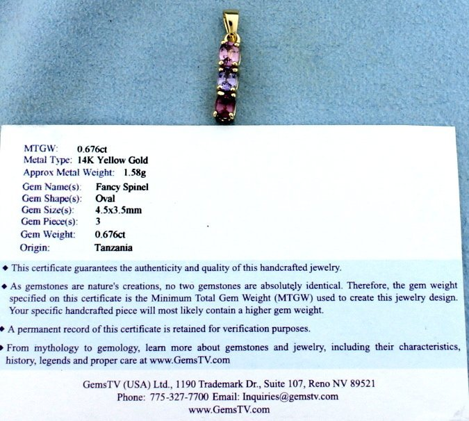 Fancy Spinel Gold Pendant - 2