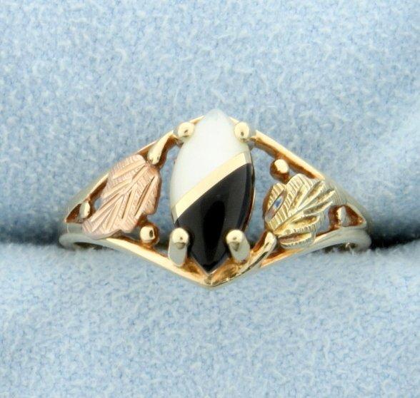 Onyx & Quartz Ying/Yang Ring