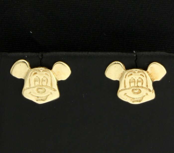 10K Yellow Gold Mickey Mouse Earrings