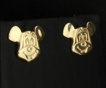 10K Yellow Gold Mickey Mouse Earrings - 2