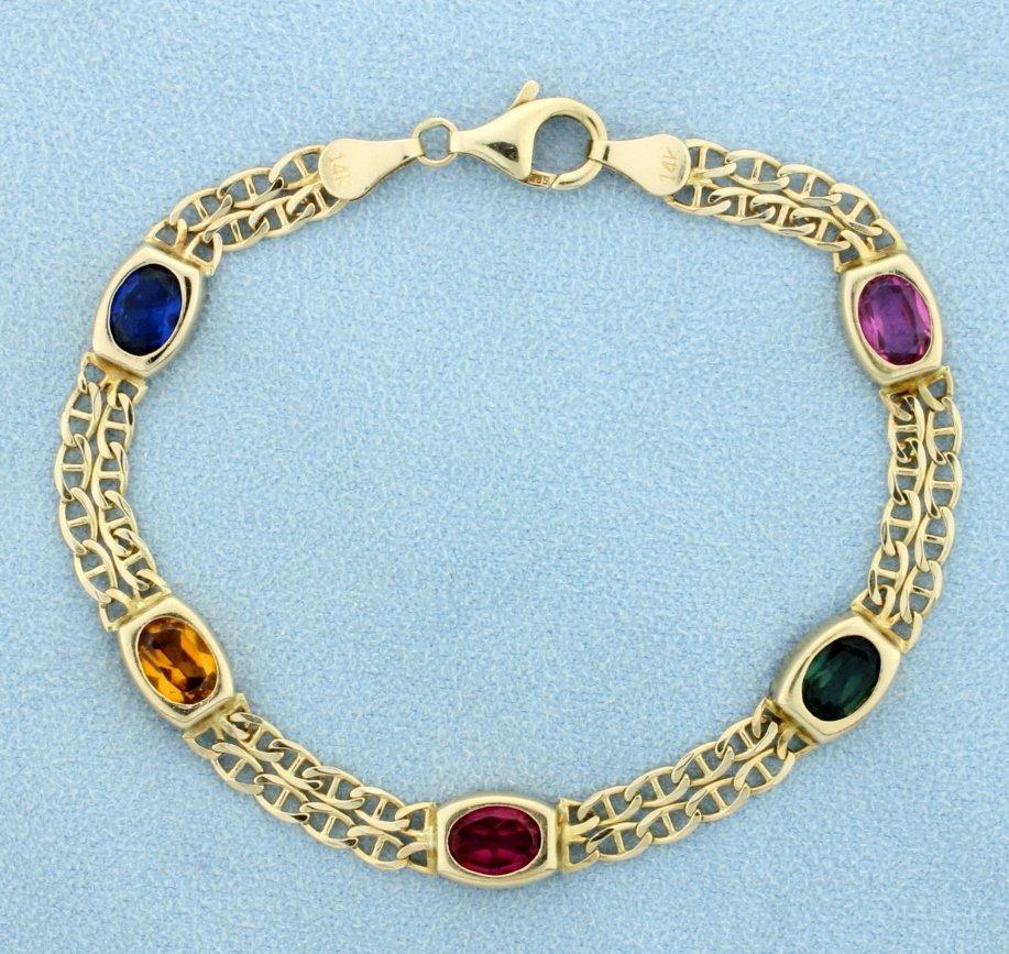 Multi-Color Gemstone Bracelet