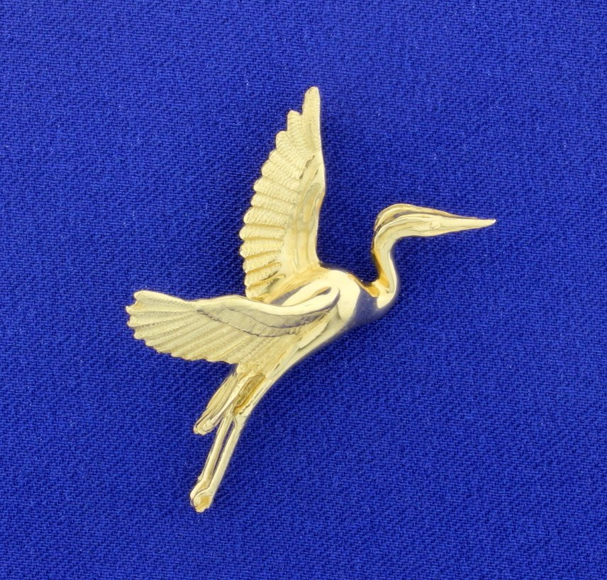 14K Herring Bird Pendant