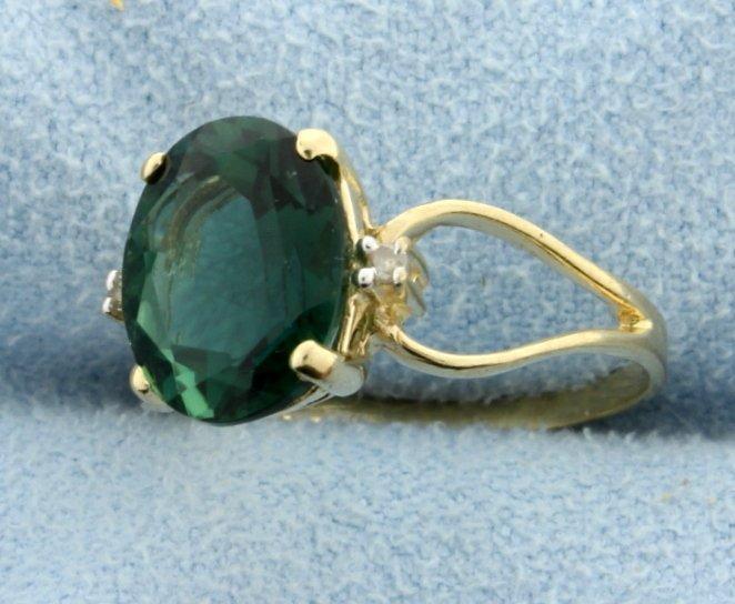 Green Quartz & Diamond 10k Ring - 2