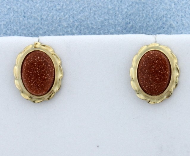 Goldstone Bezel Set into 14K Gold Earrings