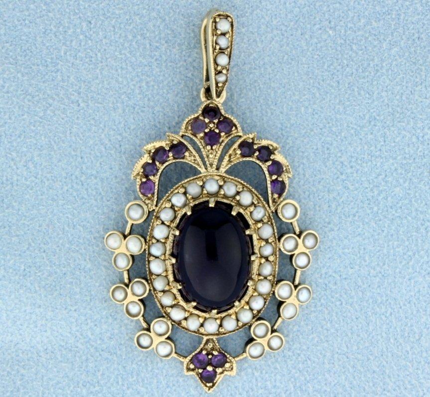 9K Antique Amethyst & Seed Pearl Pendant