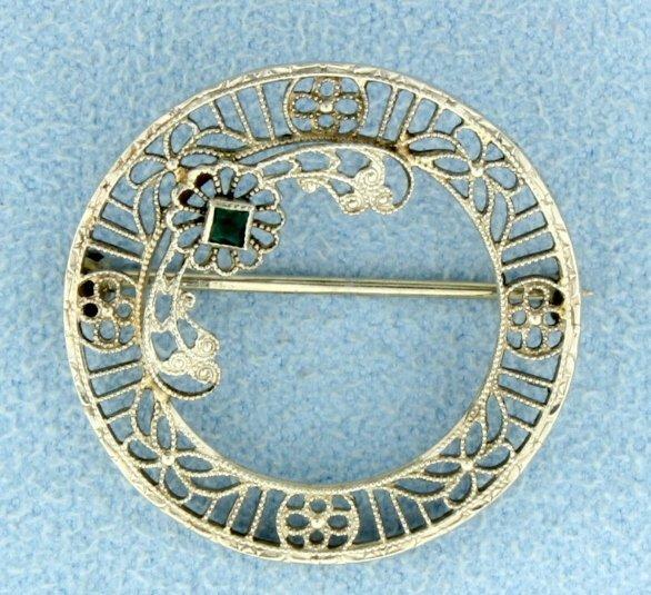 Antique Emerald Filigree Pin