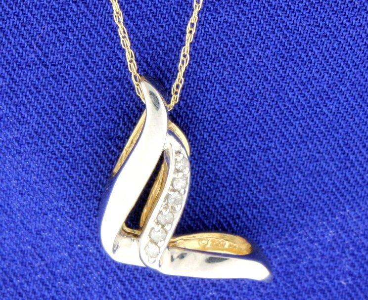 Diamond tutone pendant with chain