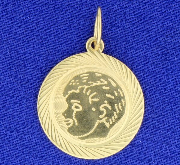 14K Gold Pendant with Boy's Head