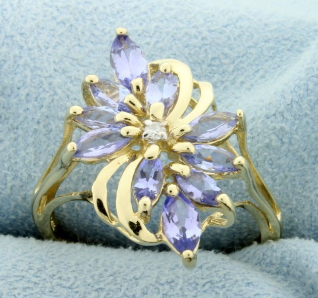 Synthetic Tanzanite & Diamond Ring