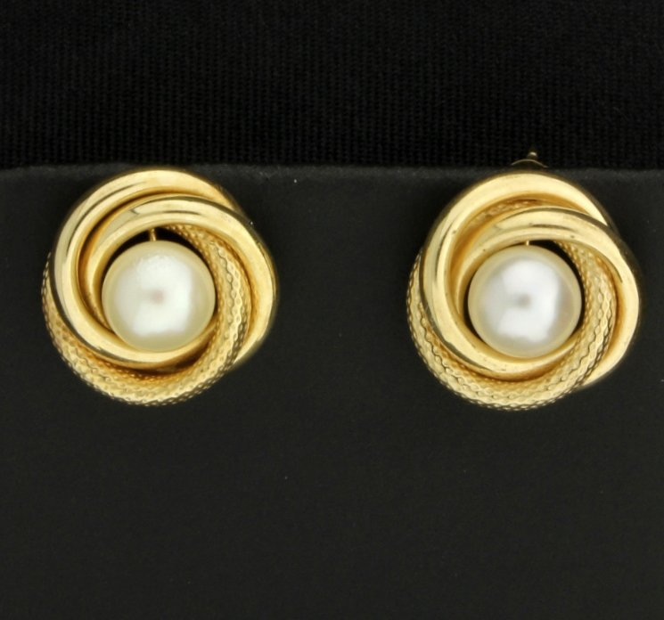 10K & Pearl Earrings