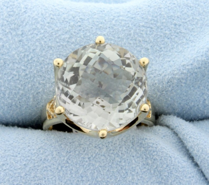 10ct Green Amethyst & White Sapphire Ring