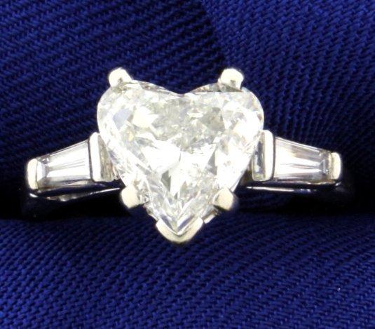 3.35 ct TW Heart Diamond Ring In Platinum