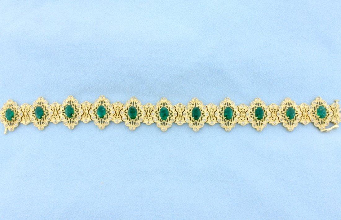 Fabulous Victorian Design Emerald and Diamond Bracelet