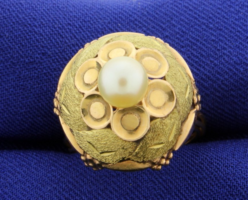 Antique Pearl & Multi Color Gold Ring