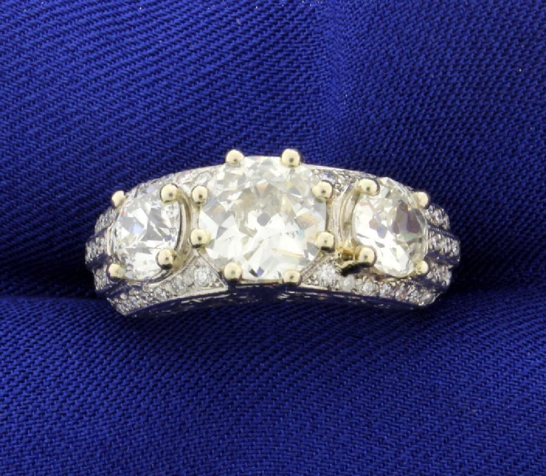 Antique 4.5 CT Total Weight Diamond Ring in Platinum