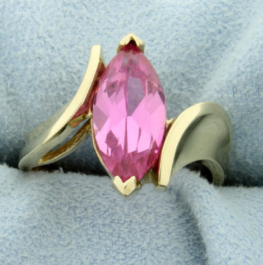Large 4ct Pink Topaz Ring