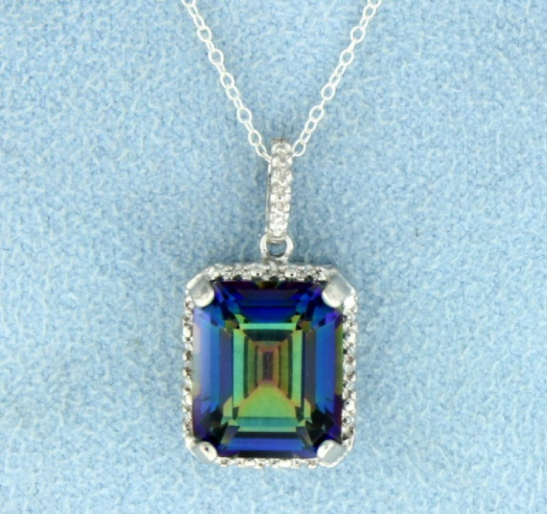 5 ct Mystic Topaz Pendant in Sterling Silver with Chain