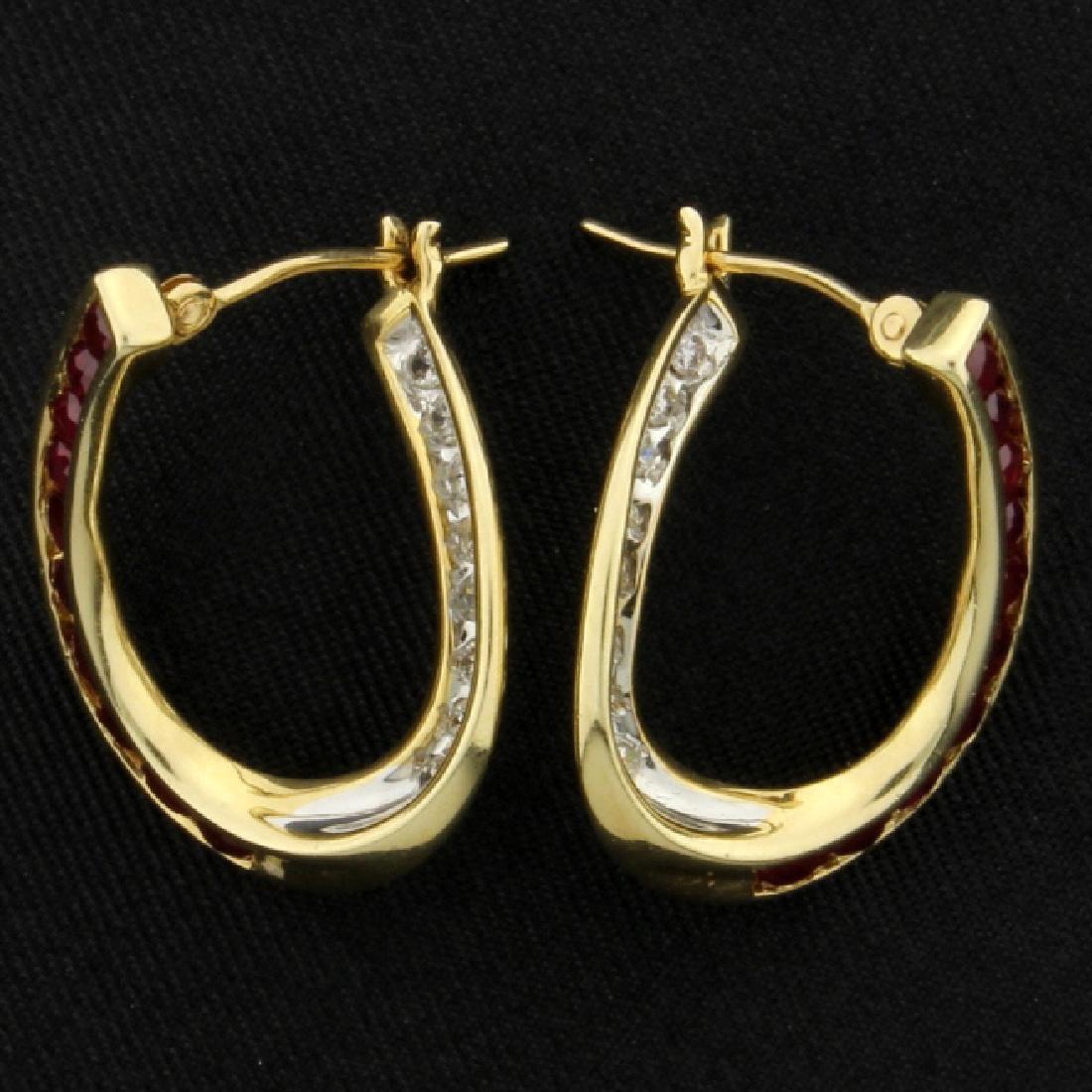 Ruby & Diamond Twisted Hoops - 2