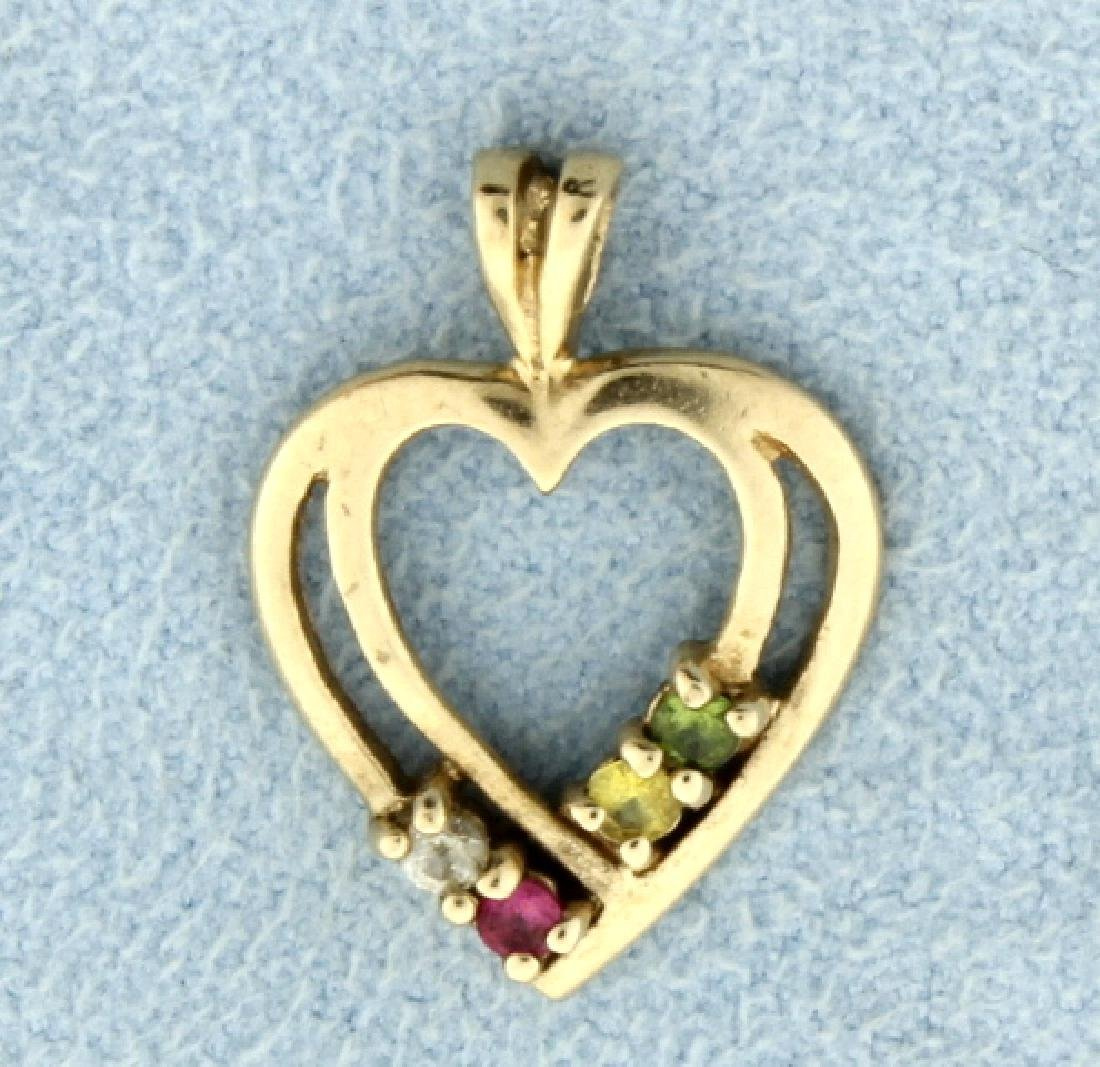 Heart Pendant with Multi-Color Gemstones