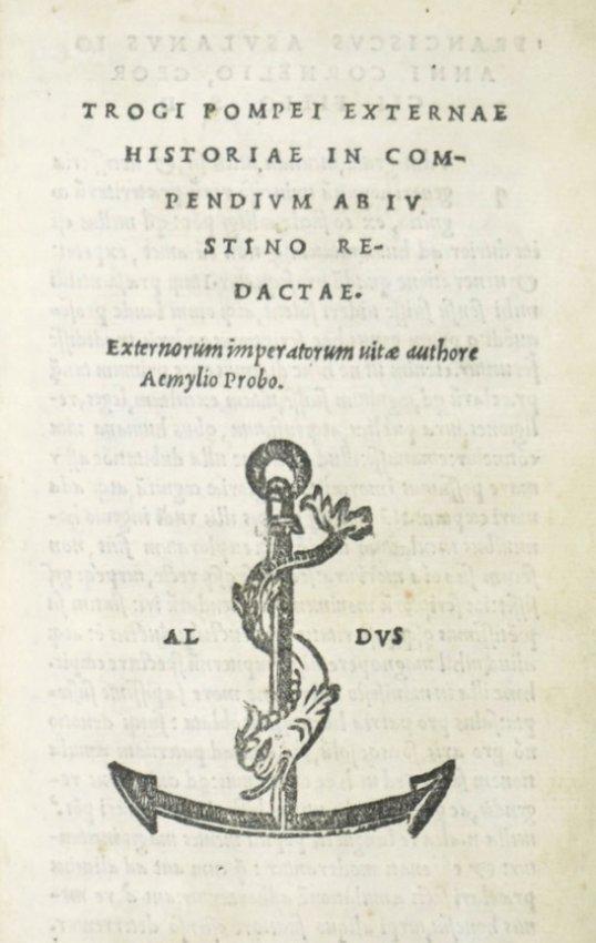[ALDUS] TROGUS POMPEIUS. Trogi Pompei externae Historia