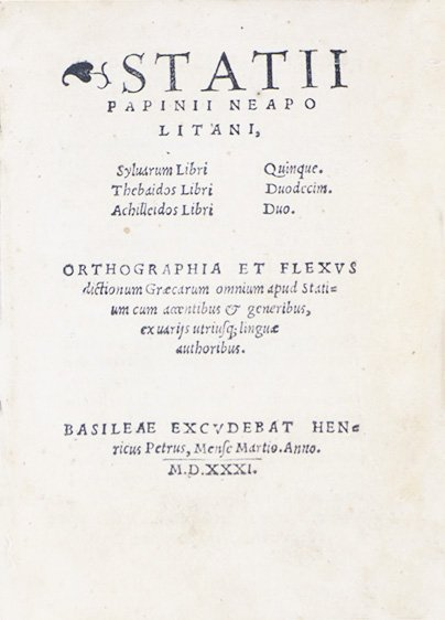 STATIUS. Statii Papinii Neapolitani
