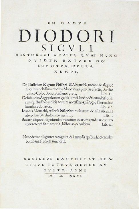 DIODORUS SICULUS. En damus Diodori Siculi historici