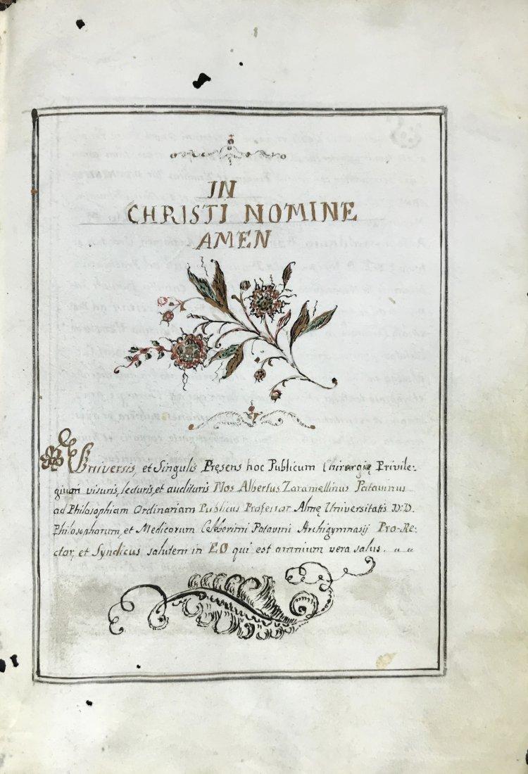 Manuscript. Diploma di Laurea in Medicina a Padova.