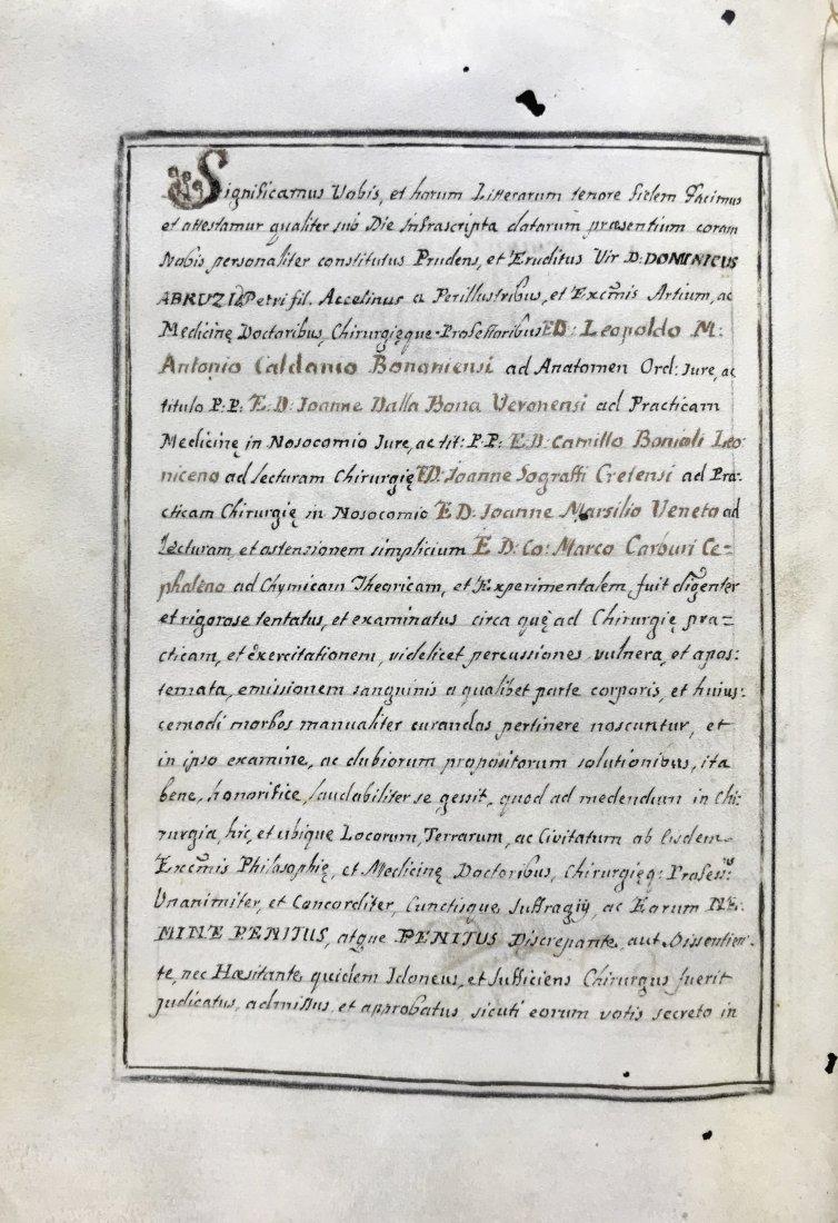 Manuscript. Diploma di Laurea in Medicina a Padova. - 2