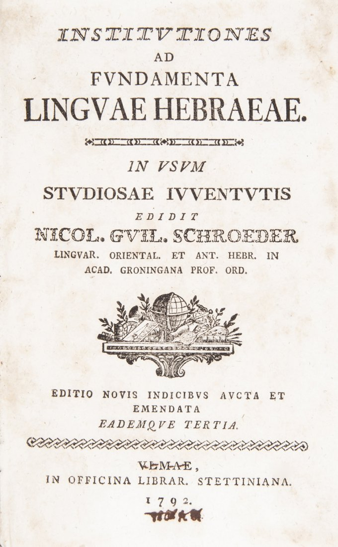 Jewish language. SCHROEDER. Institutiones