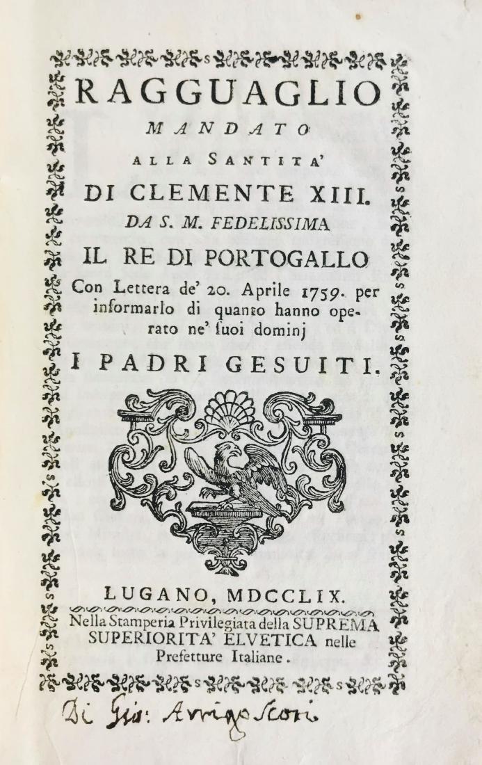 Jose' I. Lotto di cinque opere sui Gesuiti.