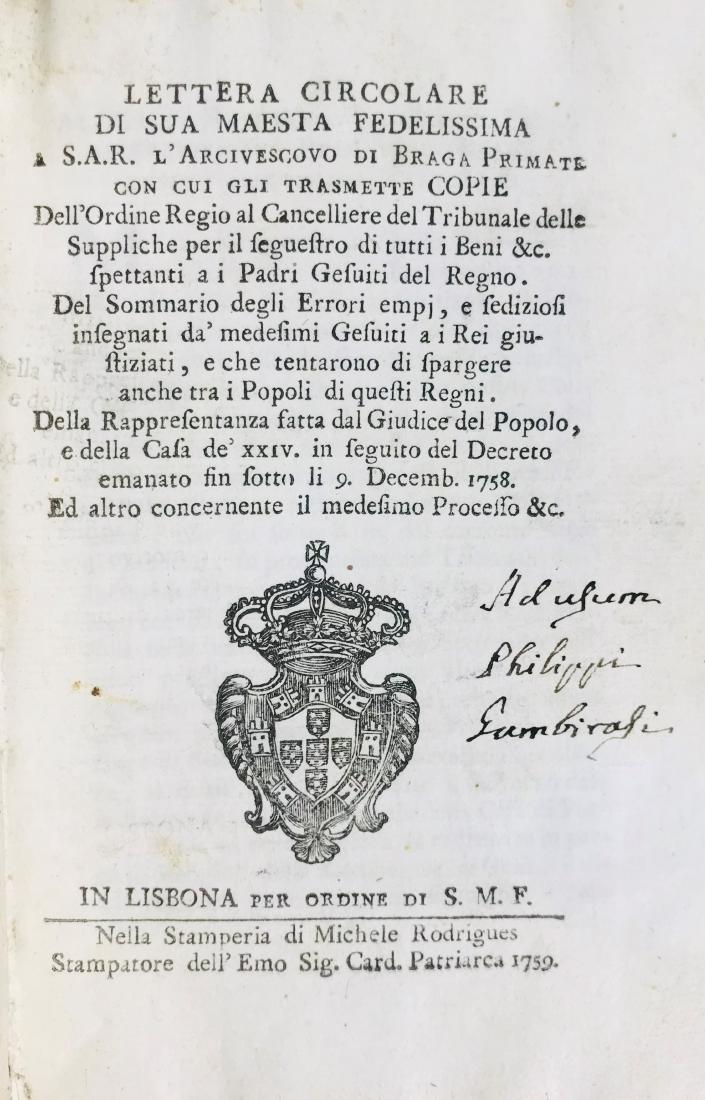 Jose' I. Lotto di cinque opere sui Gesuiti. - 2