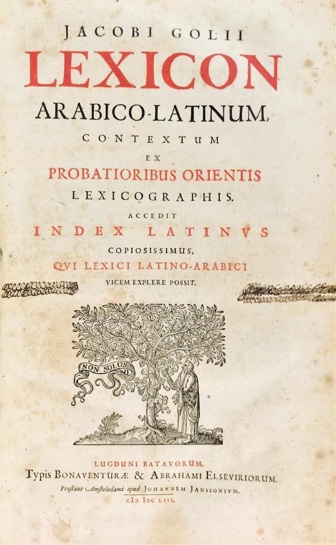 ARABIAN. Lexicon Arabo-Latino Jacob Golius Lexicon