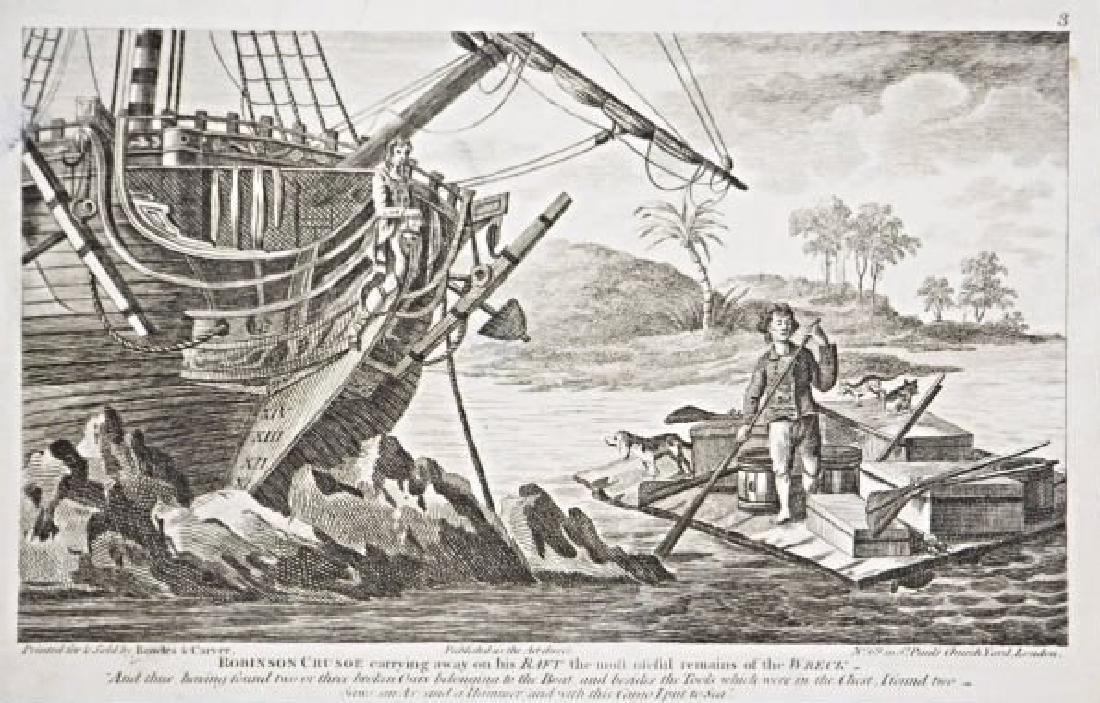 Bowles & Carver. 10 engravings on Robinson Crusoe.