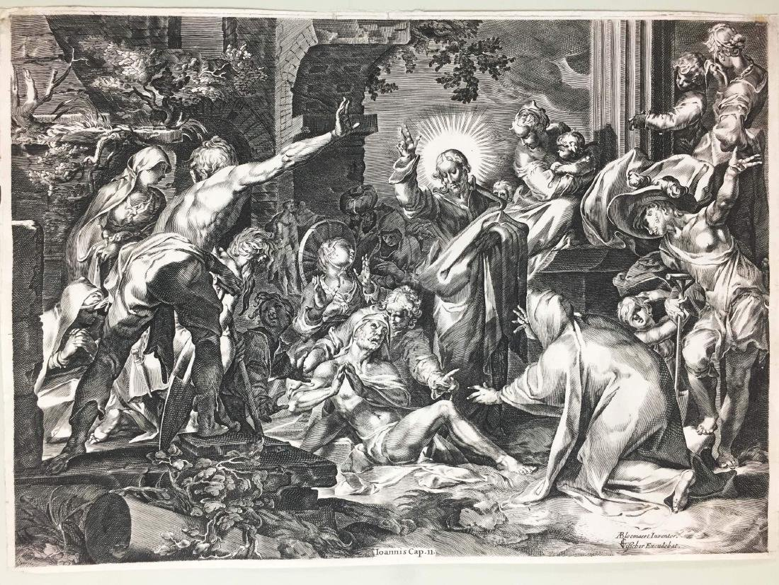 Visscher - Bloemaert. La Resurrezione di Lazzaro.