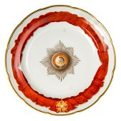 Russian dish in Gardner porcelain. Alexander I.