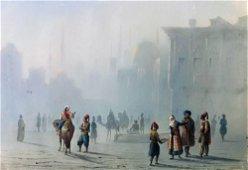 CAFFI. Veduta di Istanbul nella nebbia.