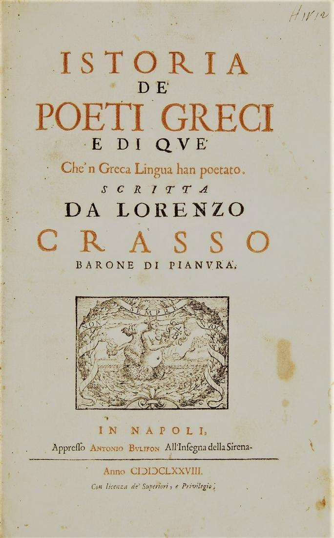 Greek poetry. CRASSO. Istoria de' poeti Greci.